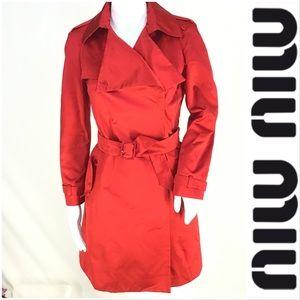 Miu miu %100 Silk Tuxedo Sheen Short Trench Jacket